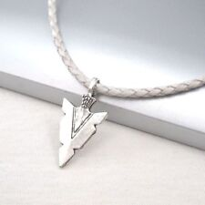 Pendant White Leather Choker Necklace Silver Alloy Native American Spear Arrow