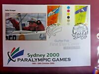 PARALYMPIC 2000 GUTTER PAIR  PRIVATE  FDC WITH 2 POSTMARKS SAILING HEIKO KROGER