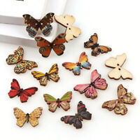 10 Butterfly Wooden 2 Hole Buttons for Sewing Knitting Crocheting Craft