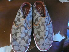 COACH BRIANNE BROWN / BEIGE SIGNATURE PRINT SLIP ON SNEAKERS 7- 8 NEW DEFECTS