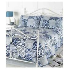 Indigo 3Pc Embossed Quilted Bedspread & Pillow Shams 240x260cm Double/King NEW