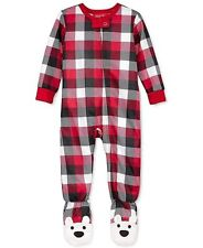 Family PJS Baby Boys/Girls Bearly Awake Buffalo Check 1-Pc Footed Pajamas 12MOS