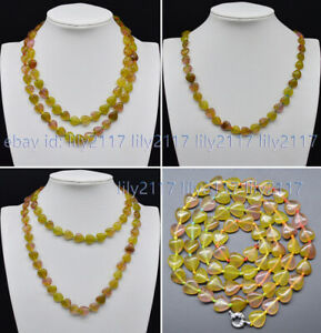 """Charm Natural 12mm Multi-Color Jade Gemstone Heart-shaped Beads Necklaces 24-55"""""""