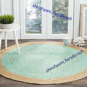 Round Handmade Natural Hand Woven Braided 120x120 CM Floor Jute Carpet Area Rugs
