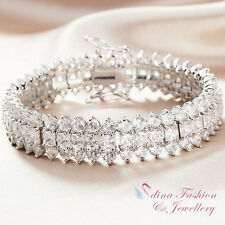 18K White Gold Filled Round & Square Diamond Luxury 3 Rows Tennis Bracelet