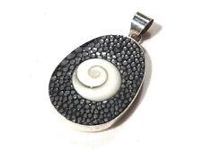 Bijou argent  925 authentique pendentif Galuchat Oeil de St Lucie pendant