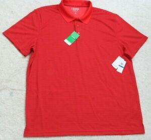 New Izod Golf Polo Shirt Short Sleeve Polyester Orange Mens Man's Top XL X-Large
