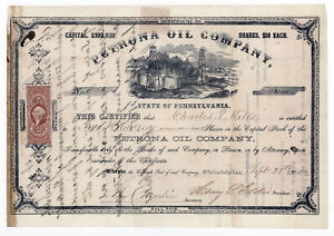 1865 Petrona Oil Company Stock Certificate ~ State of Pennsylvania 200 Shares