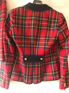 LUISA SPAGNOLI Red Tartan Wool Skirt Suit with Navy Collar Gold Buttons Size 10