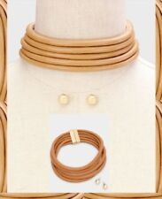 Camel Brown Gold Multi Layer Row Stack Choker Faux Leather Necklace Layered Set