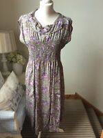 THE MASAI CLOTHING COMPANY Green Pink Floral Smock Dress Size Large Lagenlook
