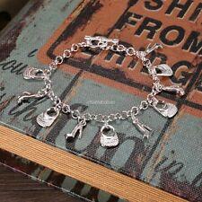 Hot Fashion 925 Sterling Silver Plated Charms Shoe Women Bracelet N98b