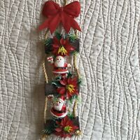 Santa Blow Mold Yule Log Cabin Decor Plastic Wall Hanging Vintage Flocked Bow