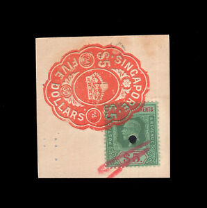 Malaya/Straits Settlements KGV $5, fiscally used in Singapore.