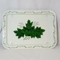 Vintage TV Dinner Tray Metal Lap Bed Folding Legs White Green Floral Fruit
