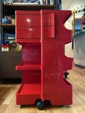 Mid Century Joe Colombo Boby Red Space Age Storage Cart Trolley B Line Kartell