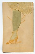 Postcard I'll Bet You Did Not Look Shoe Panty Hose Applique Standard View Card