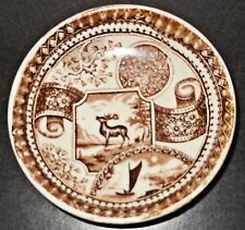 "cAntique Doll Shallow Bowl, ""Stag"" Deer or Elk Brown Transfer Pattern, English"