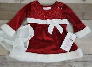 Bonnie Jean Baby Girl 3-6M Holiday Red Velvet Glitter Santa Dress Faux Fur $60
