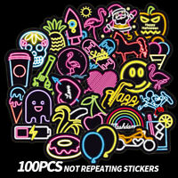 100Pcs Neon light stickers kids toy cute sticker for DIY luggage laptop +