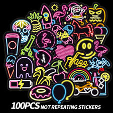 100Pcs Neon light stickers kids toy cute sticker for Diy luggage laptop Ij