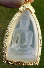 Hand Carved High Altitude Quartz Crystal Buddha from Tibet in an AMULET CASE