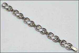 Antique Sterling Silver Designed Bracelet 7 1/2 Inches Long. (#MI168)