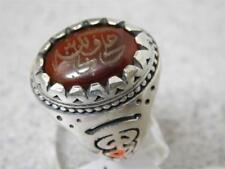 HANDMADE CUSTOM CARVE CUT MEN'S SILVER RING WITH GENUINE CARVE AQEEQ STONE