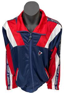 Dunlop Sport Jacket Coat Windbreaker Mens Sz L Blue Red White 2000s