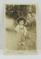 Vintage Children RPPC Boy Little Boy in Overalls Cowboy Hat Pulling a Wagon