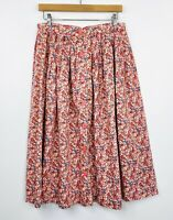 Vintage Womens A-Line Circle Skirt Floral Button Front 50s Style Handmade Sz 12