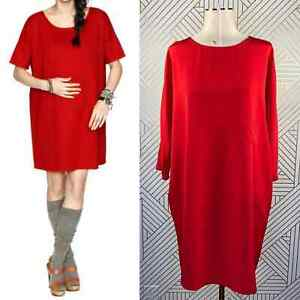 HATCH Maternity Red Oversized Chest Pocket Tee Tunic Dress Size 2 / US 8-10