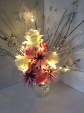 Artificial Silk Flower Arrangement Coral, Lilac & Cream In Silver Vase Light Up