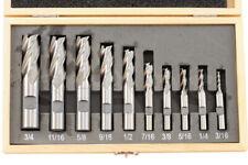 "Shars 10 Pcs 3/16-3/4"" HSS Four 4 Flute HSS Single End Mill Set New P"