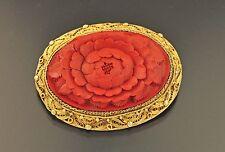 BROSCHE Silber vergoldet Rotlack  China