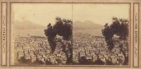 Italia Napoli Panorama Foto Rive Stereo Vintage Albumina Ca 1865