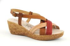 Sandalo in vera pelle Phil gatier con zeppa media cuoio-rosso n. 40