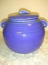 Vintage Blue USA Pottery Bean Pot Cookie/Bisquit Jar with Handles