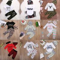 USA 3PCS Newborn Baby Boys Girls Clothes Romper Bodysuit+Pants Outfit Hat Set