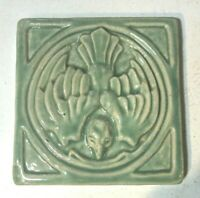 "Pewabic Tile Bird in Flight Matte Gray Green  5/5/8"" Square  3 7/8"" Thick 1989 ?"