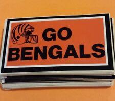 "2 Vintage Cincinnati  Bengals  ""GO BENGALS"" Bumper Stickers NOS '80's Unused"
