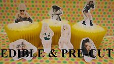 X24 Lady Gaga Comestibles Stand Up Cup Cake Toppers, Oblea papel Precortada