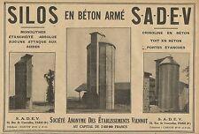 W1402 SILOS en béton armé SADEV - Pubblicità del 1929 - Old advertising