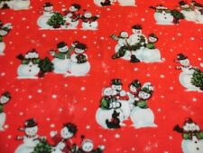 1 Yd Quilt Fabric Christmas Snowman Family Snowmen Red Snow Scenic