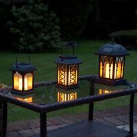3 x Solar Power Outdoor Hanging LED Flameless Candle Lantern | Garden Flickering