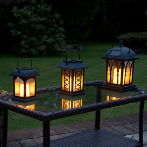 3PC Solar Power Outdoor Traditional Hanging LED Flameless Candle Lantern Garden