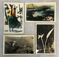 Antique 4 Postcard Lot Hawaii Hula Girl Real Photo RPPC 1900s US Army Censorship