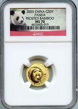 CHINA  2003  PANDA  1/10 OZ  GOLD  50 YUAN   NGC MS 70  FROSTED BAMBOO