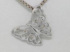 Diamant Brillant Anhänger 585 Weißgold 14Kt Gold Schmetterling 0,04ct