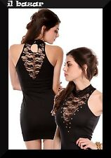 vestito donna mini abito corto Mock Neck Studs Decoration Dress Black